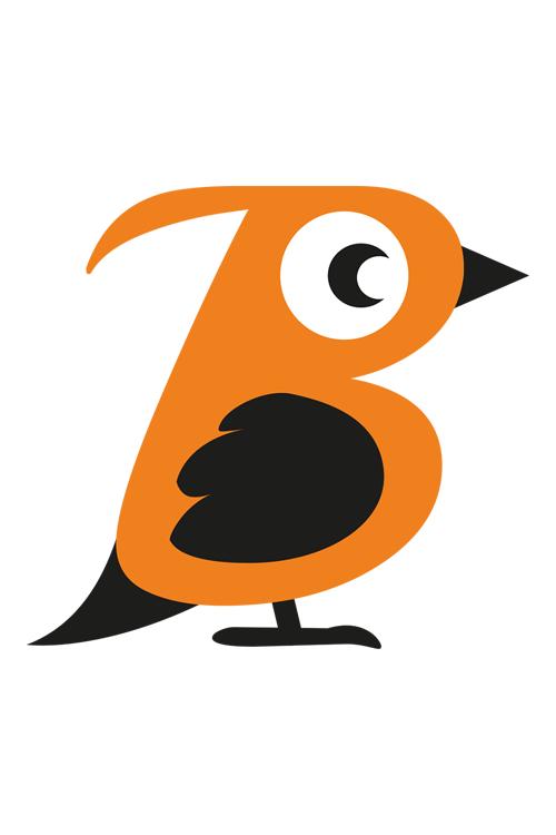 Orange Bird Icon hochformat
